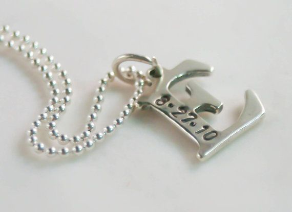 Mother Initial Letter Necklace with Birthday Sterling Silver