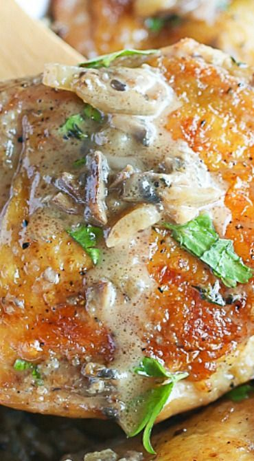 Chicken in Mushroom Onion and Garlic Sauce -- Maybe roast chicken in oven for less hands on