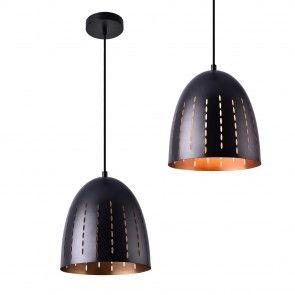 [lux.pro] Lampadario a sospensione design nero-color rame metallo   29,90 €