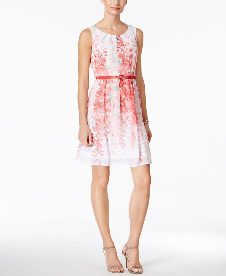 Connected Petite Belted Floral-Print A-Line Dress