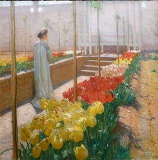 Carl Moll. Anna Moll au jardin sur la Hohe Warte. Après 1907. Huile sur toile. Kunsthandel Freller, Linz via