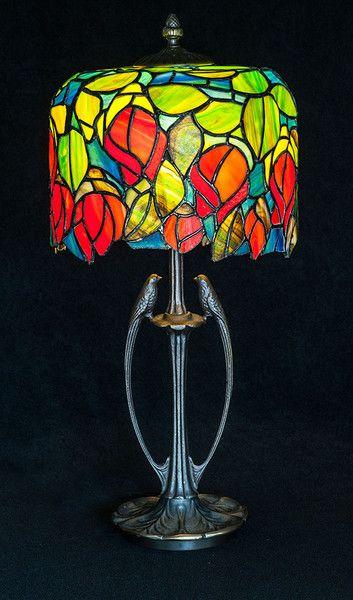 Duża+lampa+stojąca+''Róże''+inspirowana+Tiffanym+w+Ni'Finn+Handmade+na+DaWanda.com