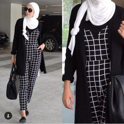 checked jumpsuit hijab-Dania Badawi hijab style – Just Trendy Girls