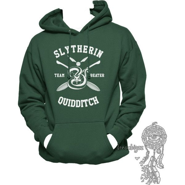 BEATER Slytherin Quidditch team Beater printed on Forest green or... ($41) ❤ liked on Polyvore featuring tops, hoodies, hoodie top, hooded sweatshirt, forest green hoodie, hooded pullover and sweatshirt hoodies