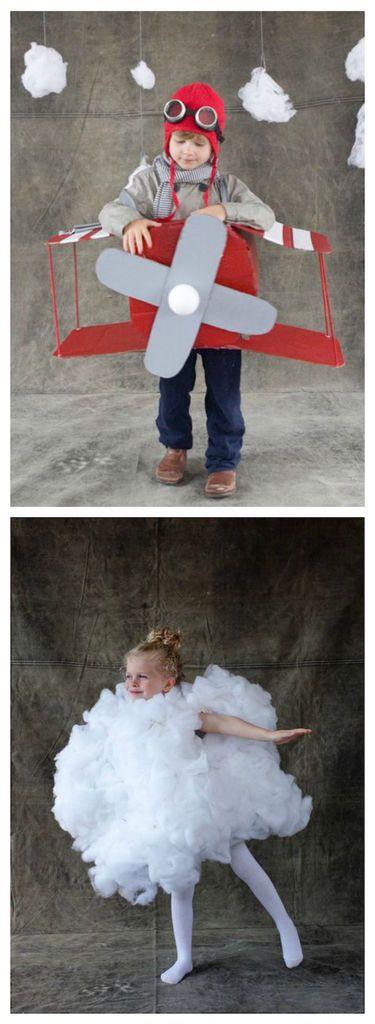 Sibling Halloween costumes: DIY airplane and cloud tutorial via @jordanferney