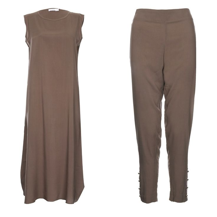 Slip dress and gold buttoned trousers - sand
