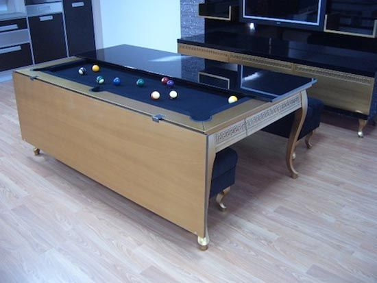koralturk gold pool and dining table 3 10 clever multi purpose furniture ideas meeting the needs of a modern lifestyle - Billard Et Table A Manger