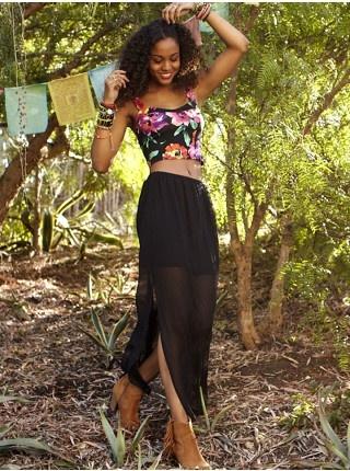 Illusion Sheer Maxi Skirt