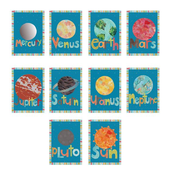 Solar System - Planet Childrens 5x7 Wall Cards  Intergalactic space travel is at your childs reach with these bright, wonderous wall cards. All 9