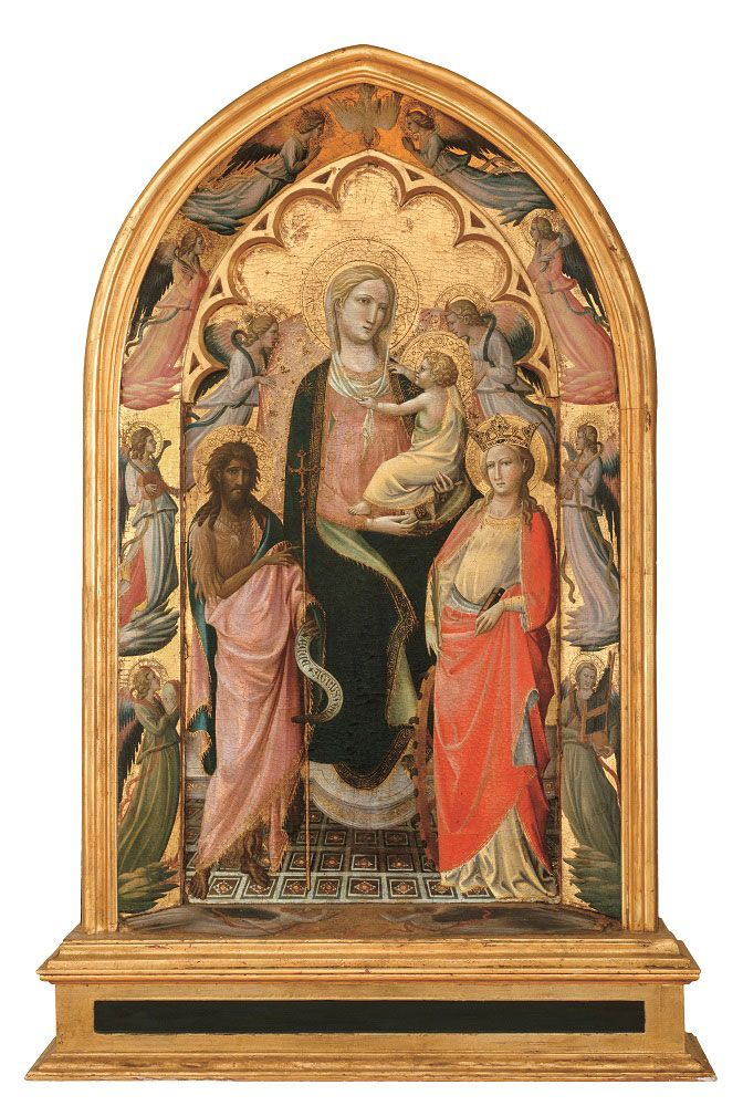 Giovanni dal Ponte (Giovanni di Marco di Giovanni, detto) Firenze 1385-1437 - Madonna with the Baby flanked by St. John the Baptist and St. Catherine.