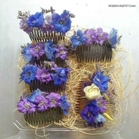 I really love to make any type of floral hairpiece. So I often make a few surprise hair flowers to give to  my brides and bridesmaids to wear. Just something sweet and simple  Sweet purple larkspur and blue delphinium blooms with a bit of sea lavender were used for these colorful hair combs.  #wildorchid707 #floraldesign #florist #sonomacountyflorist #floral #flowercrown #weddings #brides