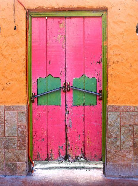 Cozumel, Quintana Roo    Brilliant colors = Happy!!!: The Doors, Green Doors, Bright Color, Front Doors, Color Combinations, Wooden Doors, Quintana Roo, Color Doors, Pink Doors