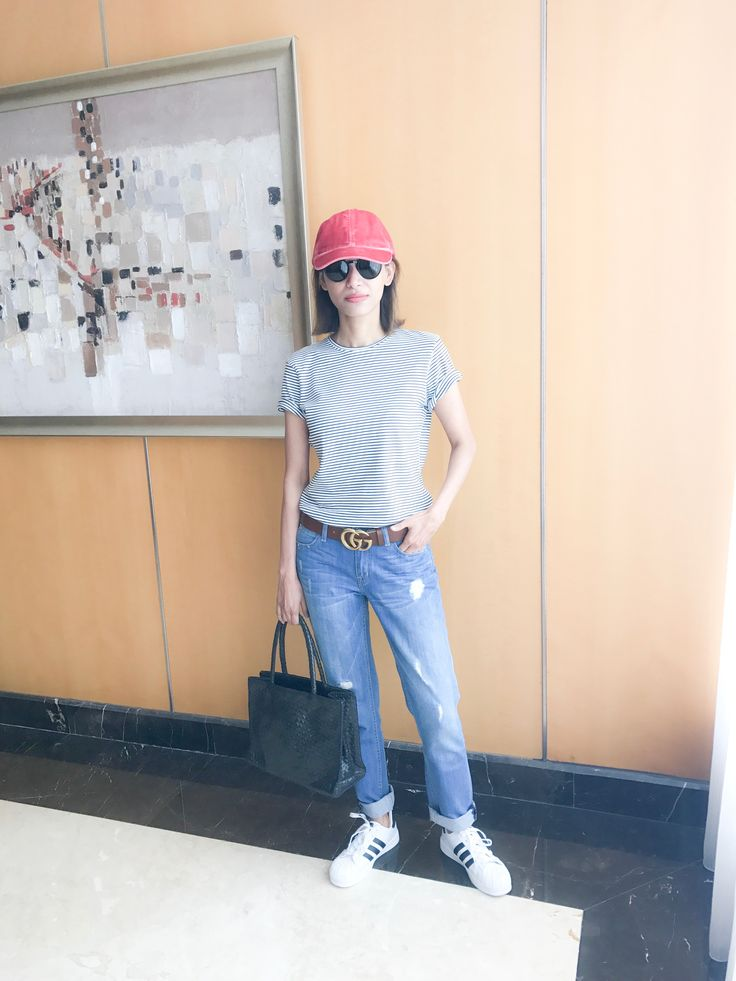 Gucci belt outfit with adidas superstar sneakers #chandrasakhrani