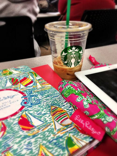 Lol legit what you will see on my desk. Starbs. MacBook. Lily pullitzer day planner