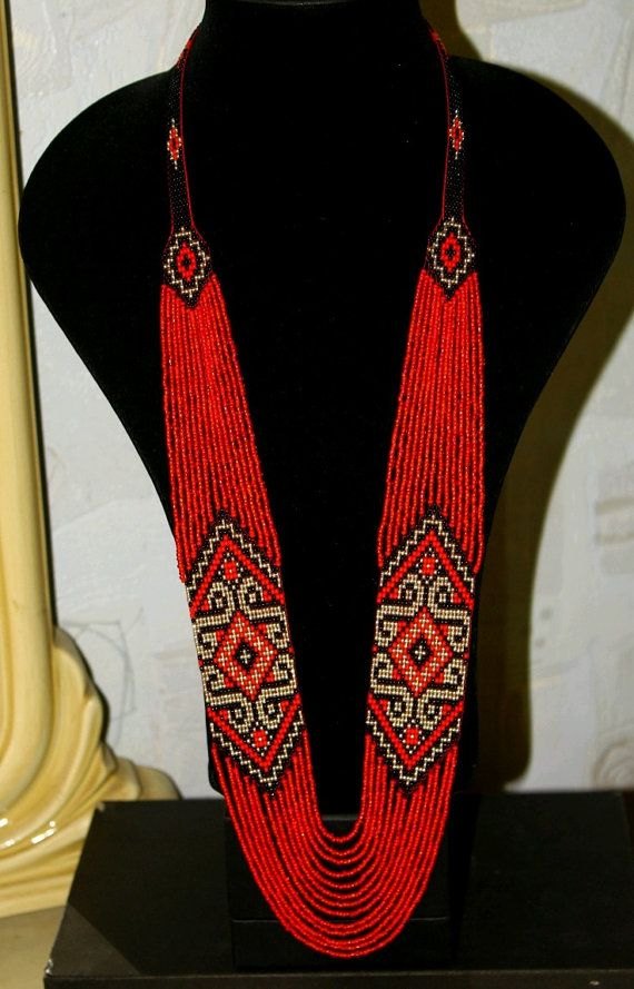 Ethnic bead necklace beaded jewelry handmade by handangerUA