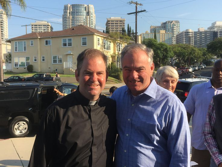 Paulist Fr. Tom Gibbons with Virginia Senator Tim Kaine following a morning mass at St. Paul the Apostle Church in Los Angeles, CA in 2016.