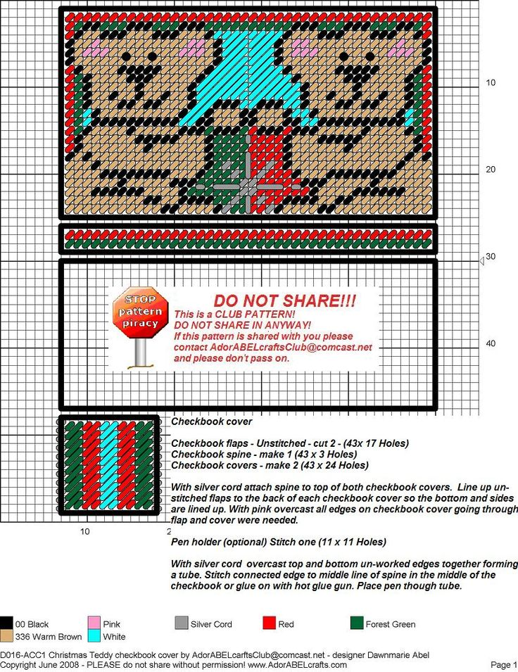 Cheque Book Cover Pattern ~ Christmas teddy check book cover p c misc