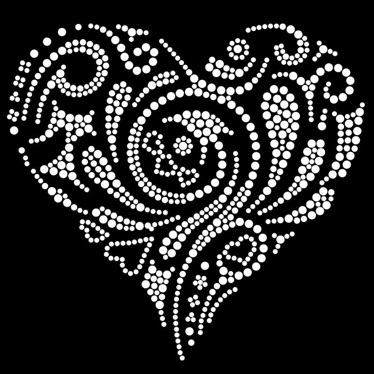 Tribal Love Heart-2 Hotfix Diamante Motif Transfer