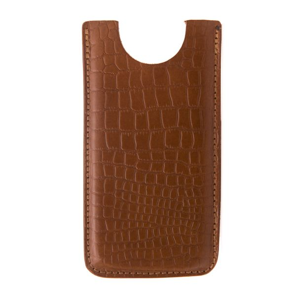 "Apple iPhone 6 sleeve in mock-croc bridle leather.  Handmade using traditionally tanned British bridle leather, these sleeves are embossed with the McRostie Logo. You can make it extra special by personalising with initials or a company logo. This product will fit an iPhone 6.  For other models, please click on the 'Get in touch' button, below.  It is supplied with a McRostie branded natural cotton dustbag.  Depth 15cm / 6"" approx. Width 8cm  / 3.25"" approx."