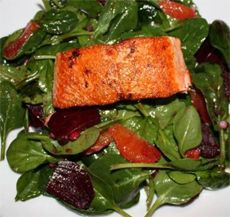 Seared Wild Salmon Salad with Beet, Blood Orange, and Spinach - Vital ...