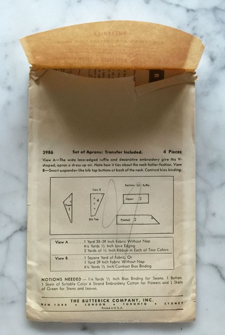 White apron ebay.ca - Vintage Original Butterick 30 S Aprons Transfer Included 3986 One Size Ebay
