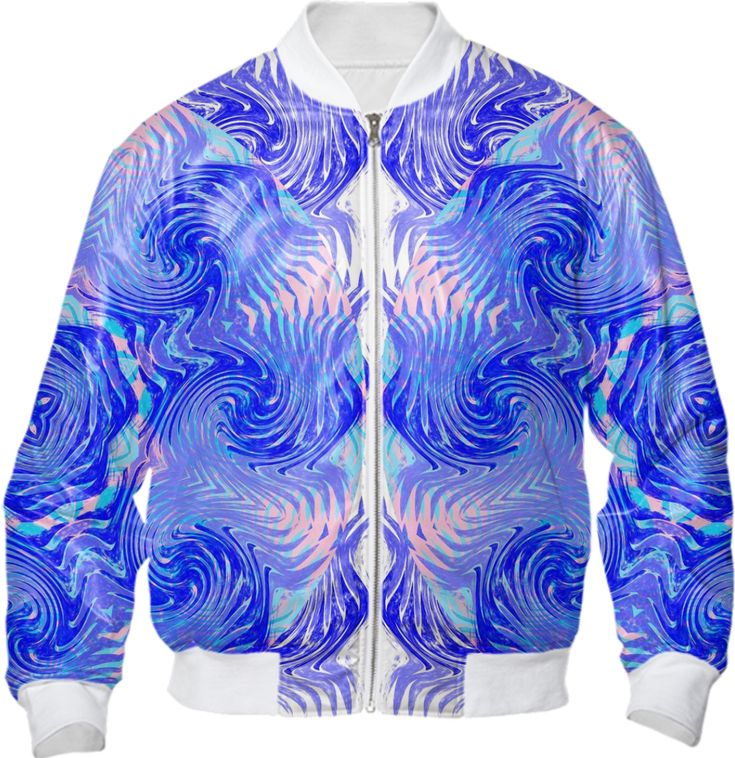 Blue Pink Abstract Ocean Waves Summer Fashion Bomber Jacket from Print All Over Me