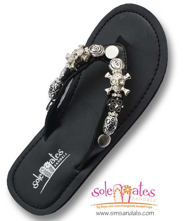 """a6b9e0f25 Solemates Sandals interchangeable beaded flip flops strap """"Rocker Chic"""".  Skulls and roses with black"""
