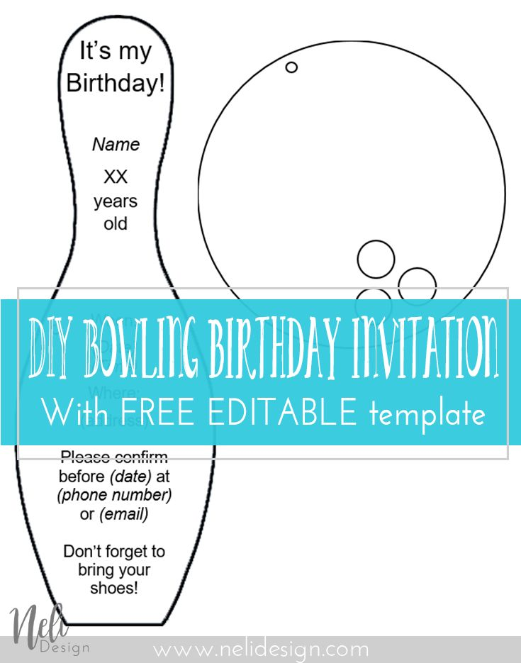 Easy DIY | free template | bowling birthday | party invitation