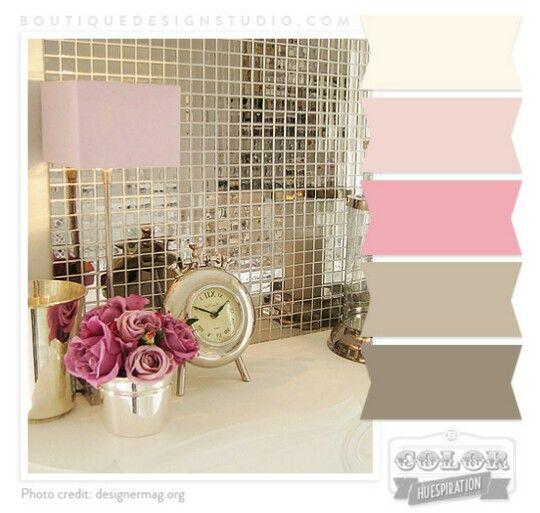 Pink Cream Rose Brown Warm Grey Color Palette For Guest Bedroom