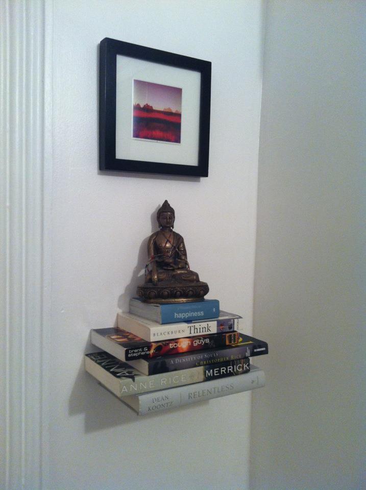 Floating book shelf in bedroom