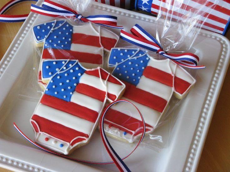 Red, white, and blue, Patriotic onesies #cookies