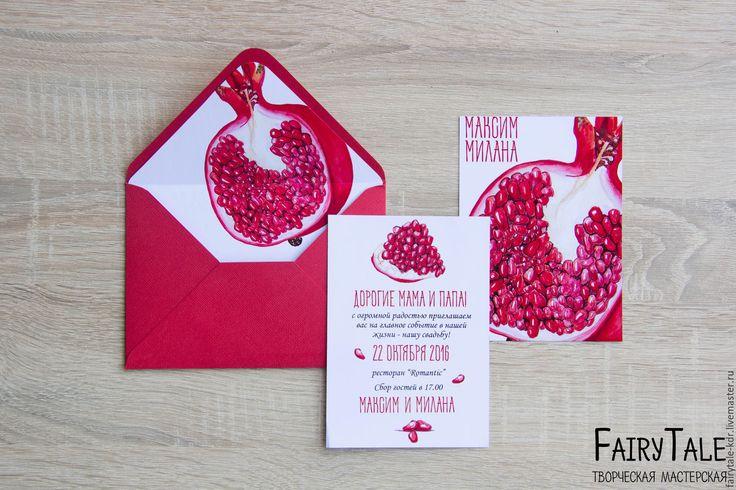 """Купить Приглашение на свадьбу """"Гранат"""" - ярко-красный, приглашение на свадьбу, пригласительные, свадебная полиграфия, приглашение"""