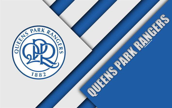 Download wallpapers Queens Park Rangers FC, QPR logo, 4k, white blue abstraction, QPR, material design, English football club, London, England, UK, football, EFL Championship