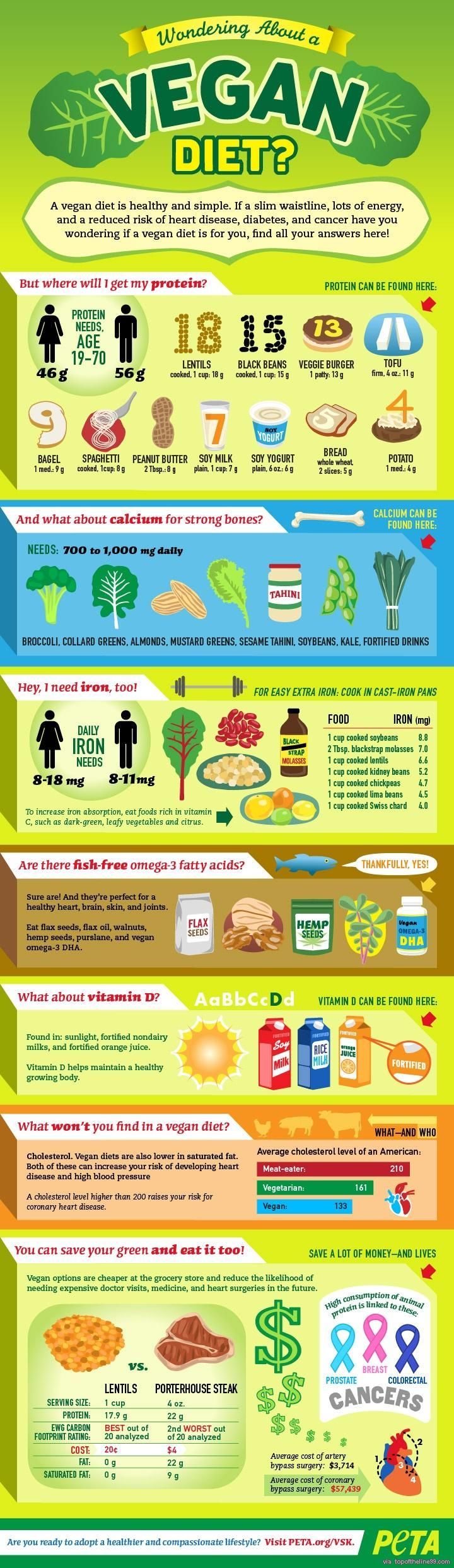 Wondering About a Vegan Diet? This chart shows plant based sources of protein, calcium, iron and omega-3 fatty acids. Great resource!