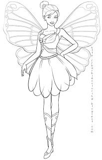 FAIRY COLORING PAGES BARBIE MARIPOSA