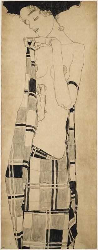 Egon Schiele  格子模様の服のゲルタ・シーレ  ミネアポリス美術館