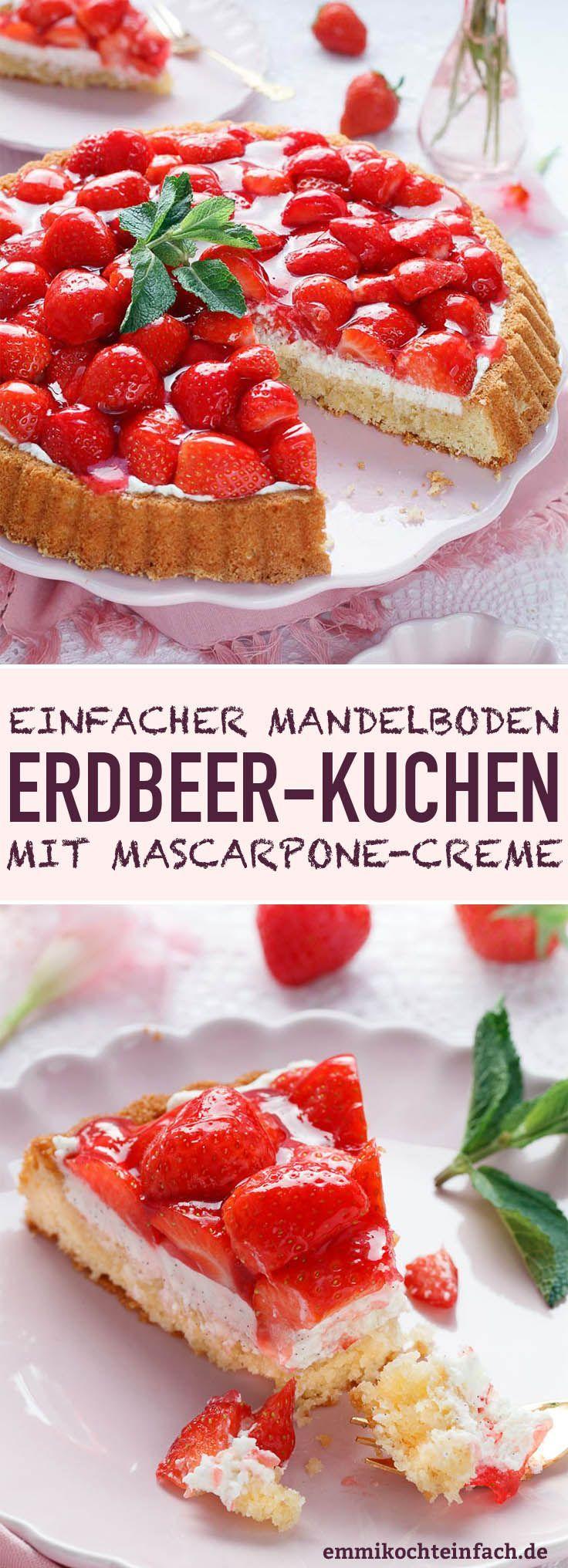 Erdbeerkuchen mit Mascarponecreme und Mandelboden – www.emmikochtinf …   – Beerenkuchen