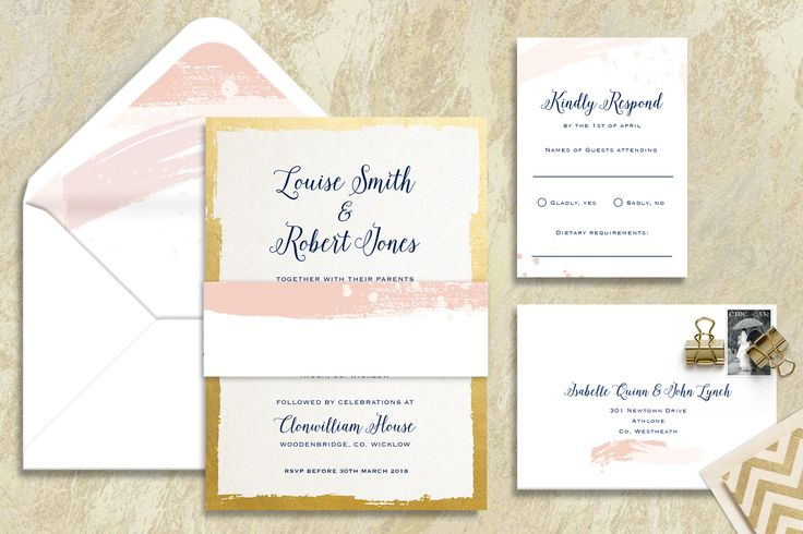 Brush Stroke Wedding Invitation Suite Appleberry Press Signature Range
