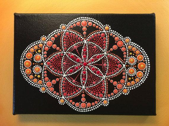 Originele Dot kunst schilderij - cirkel van leven - Sunset - gratis frankeertegoed in Australië alleen (7 x 5 inch Canvas)