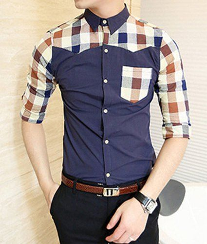 $14.52 Korean Style Turn-down Collar Plaid Print Men's Half Sleeves Polyester Shirt