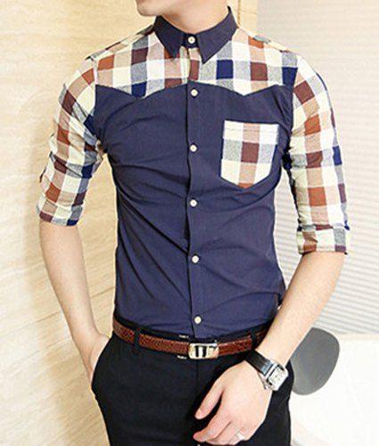 $14.52 Korean Style Turn-down Collar Plaid Print Men's Half Sleeves Polyester Shirt