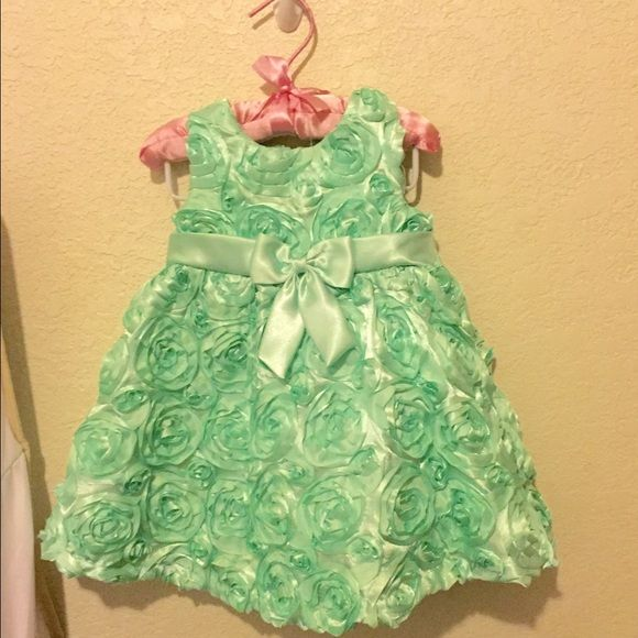 12 Month infant/toddler Occasion dress Mint green Occasion dress with bloomer's Rare Editions Dresses