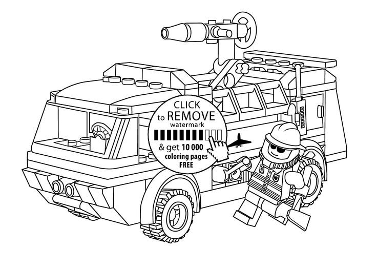 Lego firetruck with fireman coloring page for kids ...