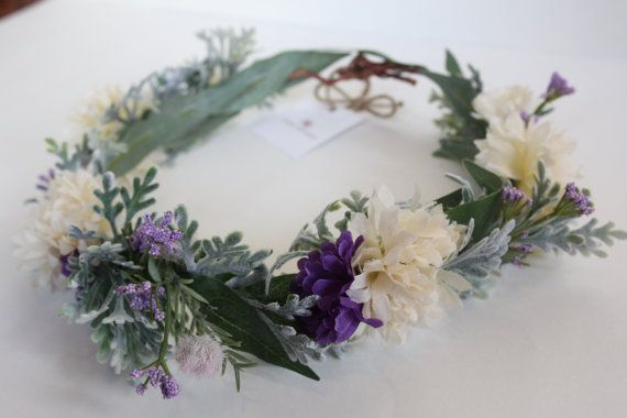 Lilac Flower Crown Lilac Purple Ivory Floral by jewelfeathers