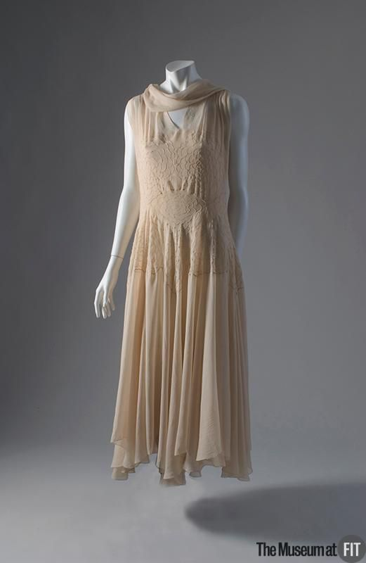 Madeleine Vionnet Evening Dress early 1930's // Museum at FIT P83.39.7 // Material: Ivory bias-cut silk georgette //  Credit: Museum Purchase