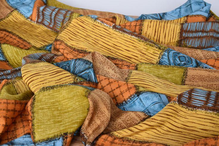 Antique Fabulous Art Nouveau Linen Silk Curtain Drape C. 1900 Organic Barkcloth Lambrequin Home Decor Geometric shapes