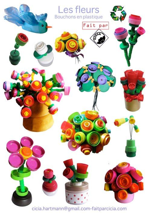 using different plastic bottle caps to make flowers