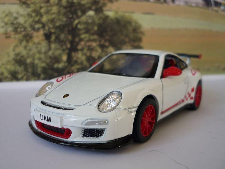 Personalised Plates Gift 2010 White Porsche 911 Boys Toy Car