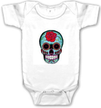 Amazon.com: Day of the Dead Sugar Skull Baby Onesie: Clothing