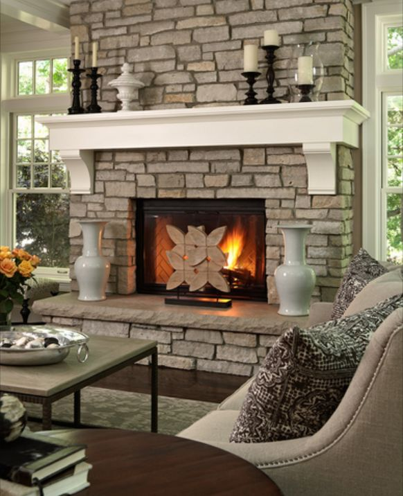 Interior Design Ideas, Window Treatments, Remodeling, Fabrics, Greensboro, High Point NC: How to decorate with a stacked stone fireplace, 6 designer tips for furniture, colors, and fabrics.